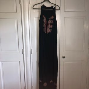 Madewell black embroidered maxi dress